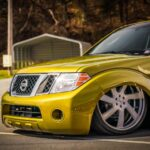 "Bagged 2008 Nissan Pathfinder with Custom Paint  Stock-floored on 24"" Wheels"