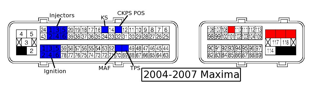 color ecu pinout diagramslist of ecu pin out diagrams for your nissan maxima\u0027s my4dsc 2073